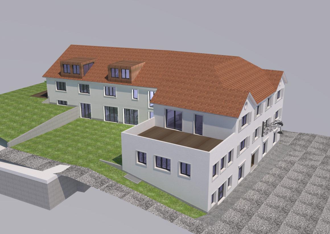 Ersatzneubau Falken 11-Familienhaus mit Gewerbe, Hauptstrasse, Aadorf